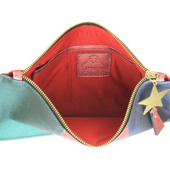 Star Metallic Multicolour Leather Clutch