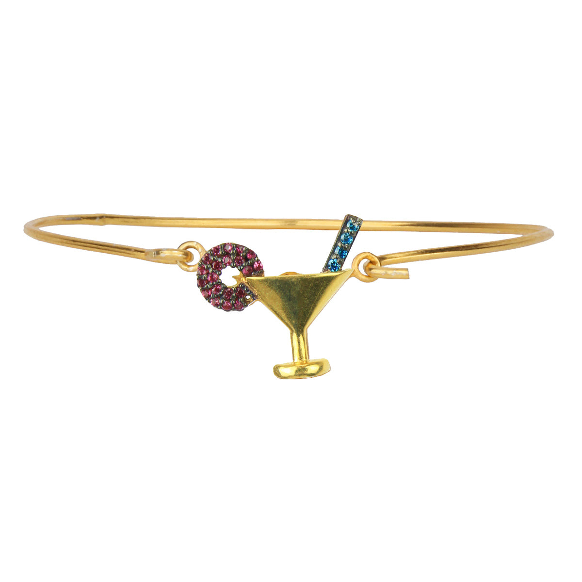 Cocktail Gold Plated 925 Sterling Silver Charm Bracelet