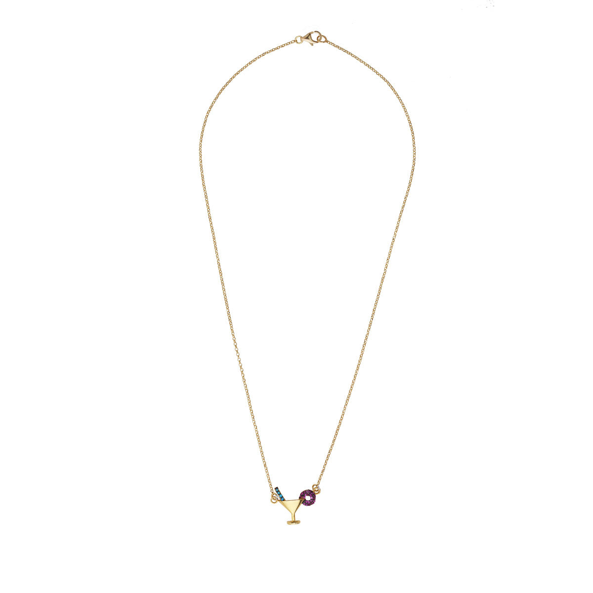Cocktail Glass Gold Plated 925 Sterling Silver Chain Short Necklace