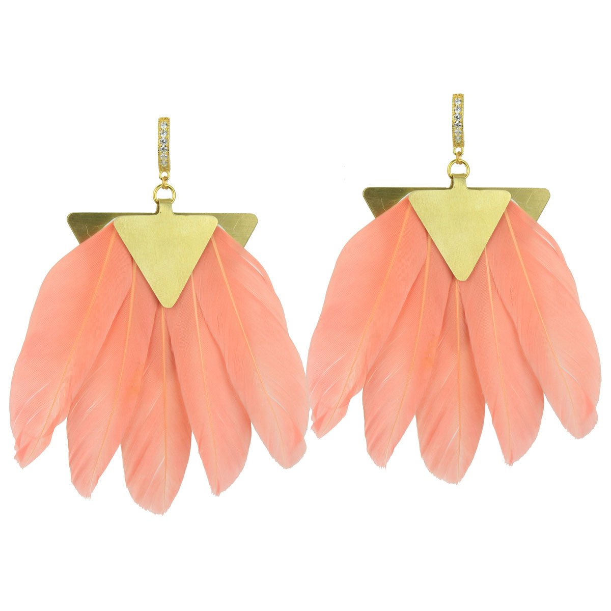 Artemis Peach Feather Gold Plated Metal Earrings