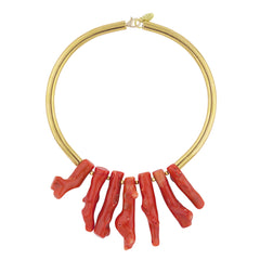 Erica Coral Gold Plated Metal Collar Necklace