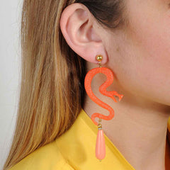 Dangle earrings with snakes and drops coral katerina psoma
