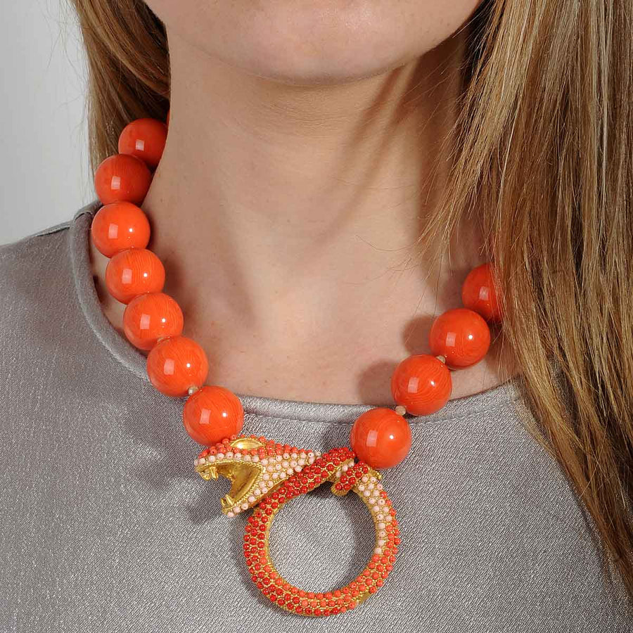 short necklace with coral beads katerina psoma