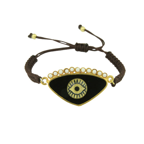Gold Plated 925 Silver and Black Enamel Evil Eye Cord Charm Bracelet