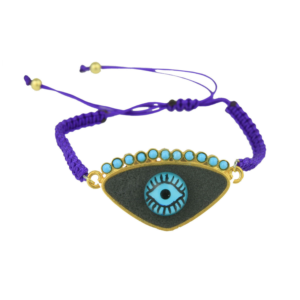 Gold Plated 925 Silver and Grey Enamel Evil Eye Cord Charm Bracelet