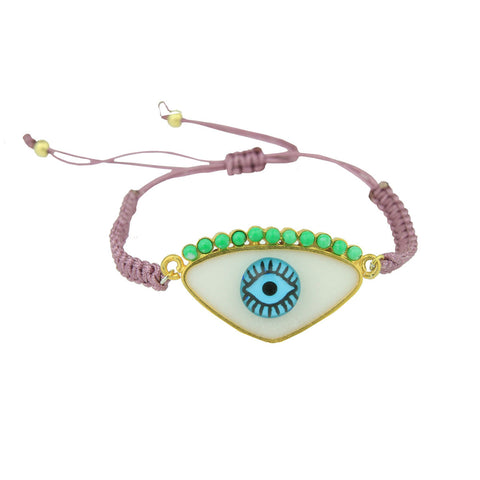 Gold Plated 925 Silver and White Enamel Evil Eye Cord Charm Bracelet