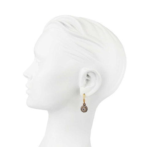 Aylin Gold Plated 925 Sterling Silver Hoops and Crystal Drops