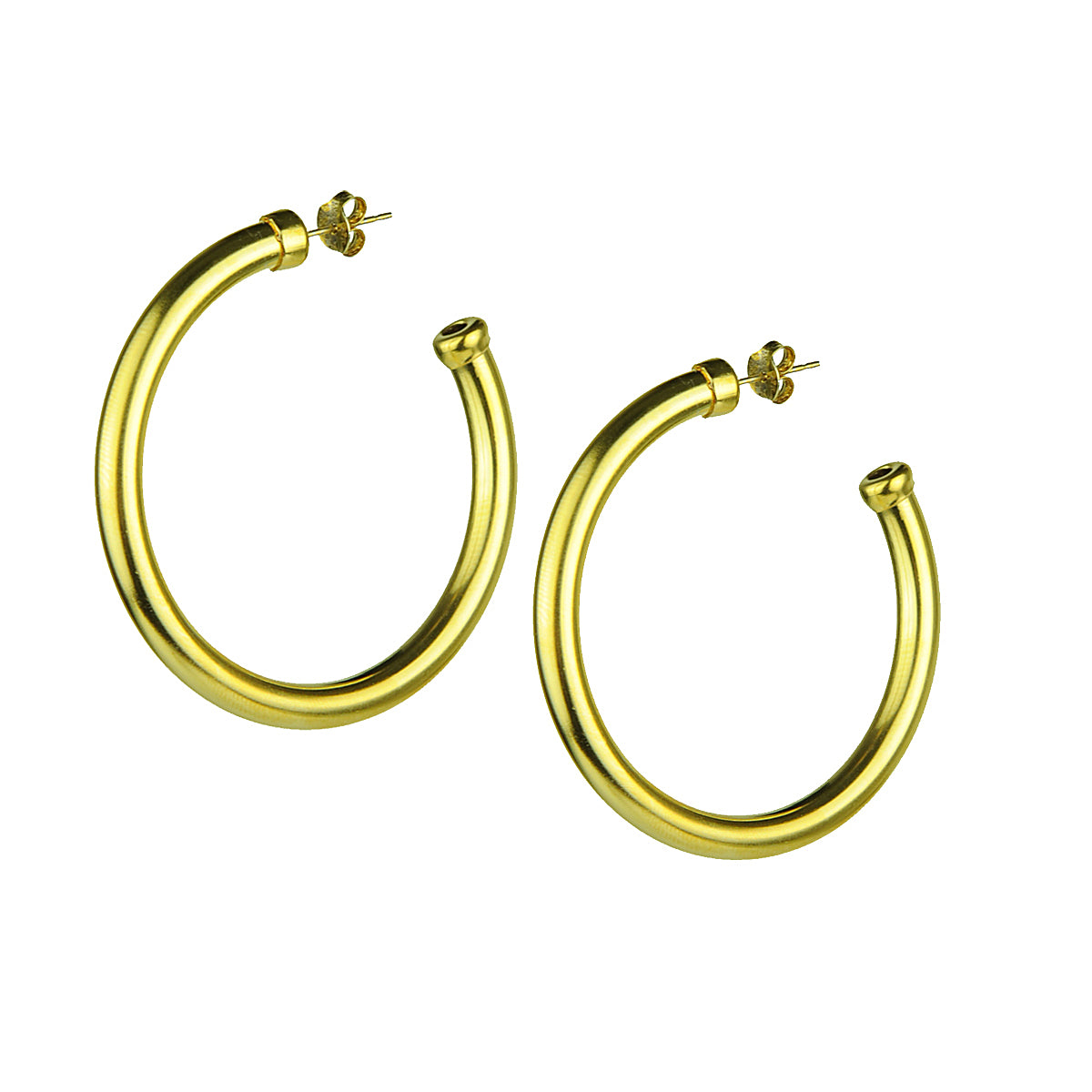 gold plated vintage brass hoops katerina psoma