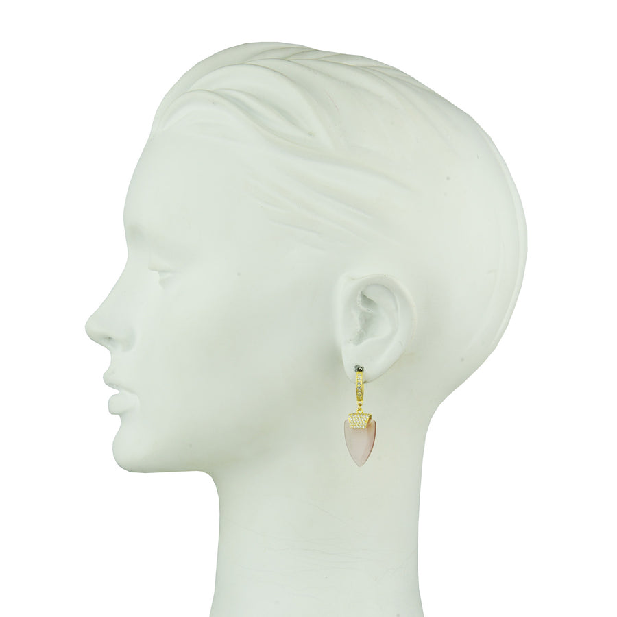Aylin Hoops with Faceted Pink Dangles