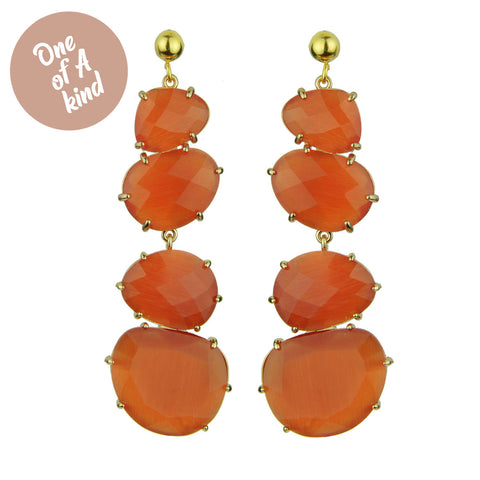 Veronica Dangle Orange Earrings with Studs