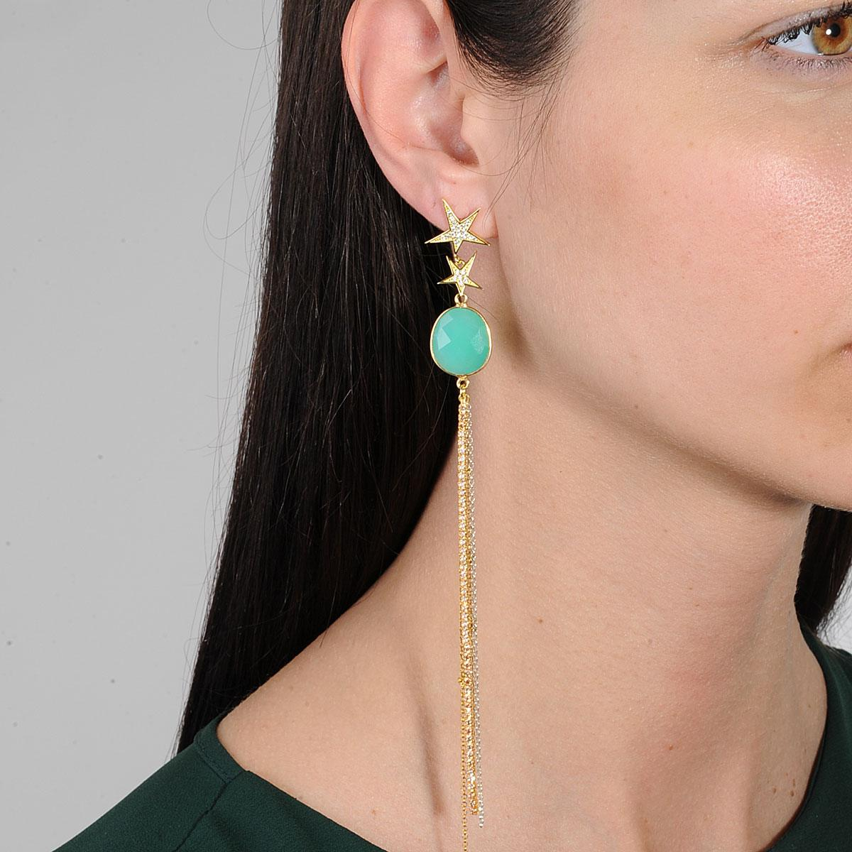 Tassels earrings with 925 silver and semiprecious stones katerina psoma