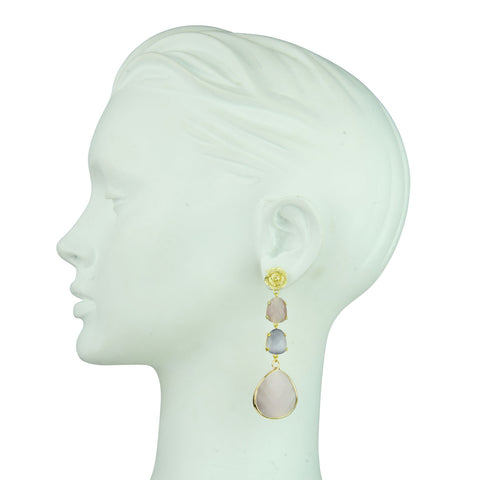 Veronica Dangle Earrings with Rose Studs
