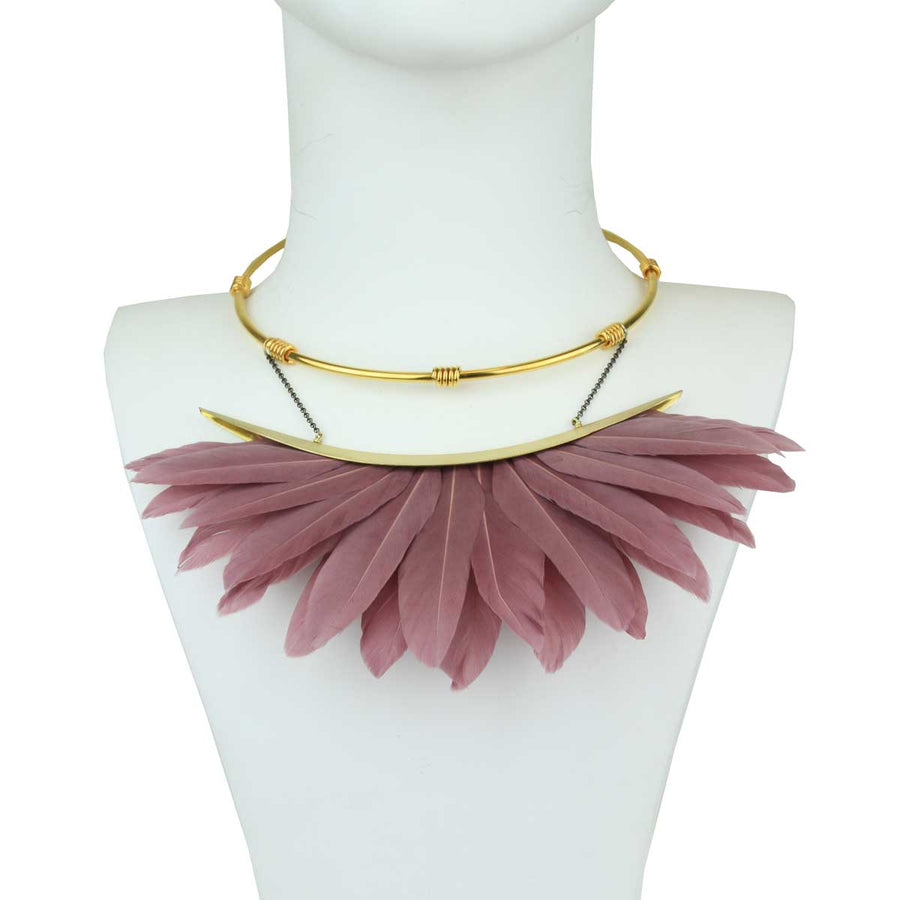 short metal necklace with salmon pink feather katerina psoma