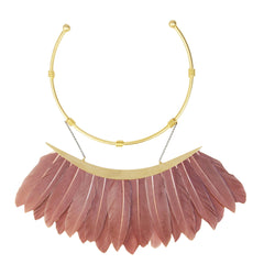 Artemis Dark Pink Feather Gold Plated Metal Collar Necklace