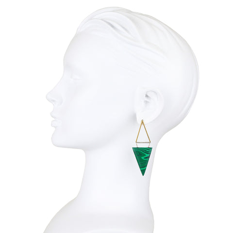 Tinos 9ct Gold, Diamond and Malachite Earrings