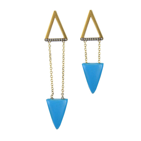 Tinos 9 kt Gold Earrings with Diamonds and Howlite