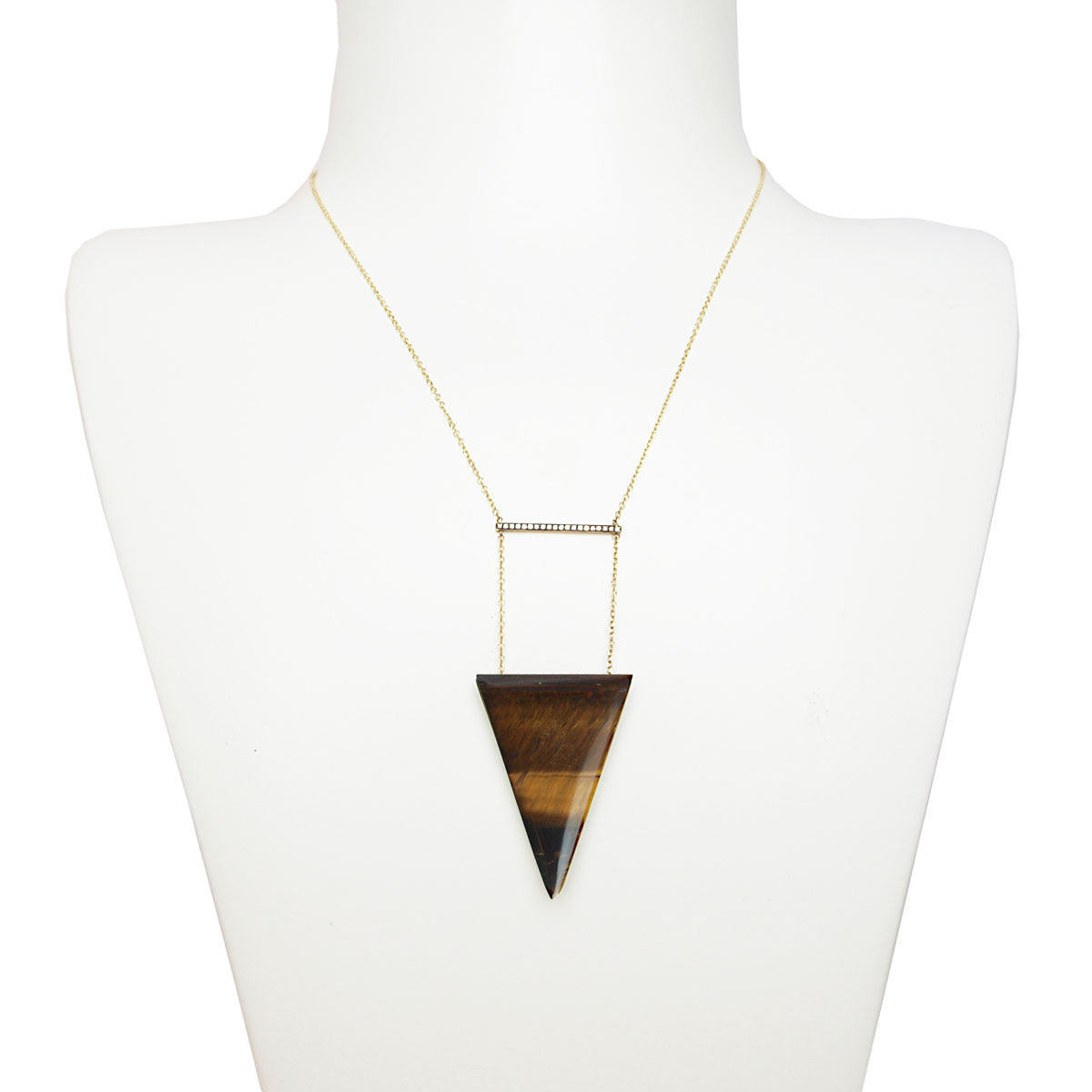 Tinos 9 kt Gold Necklace with Diamonds and Tiger's Eye