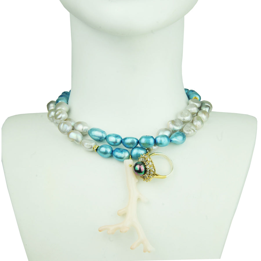 Long necklace with fresh water pearls grey blue a coral and vintage crystal ring katerina psoma detail