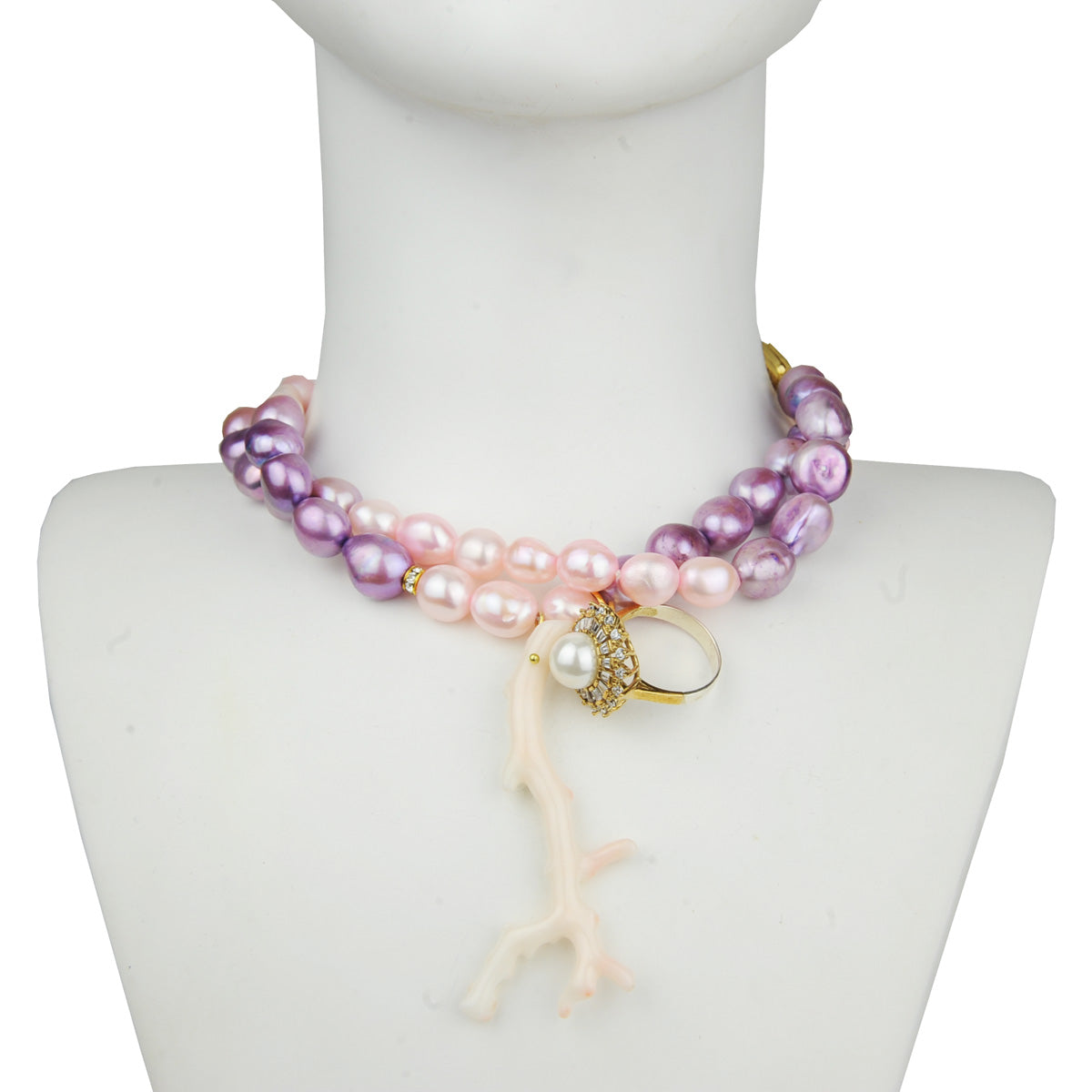 long necklace with paste fresh water pearls, pink coral and vintage ring katerina psoma