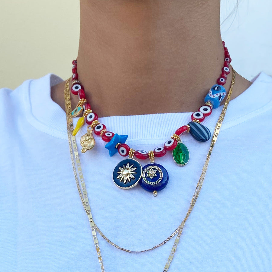 Katerina Psoma Evil Eye Short Necklace with Stones and Charms red