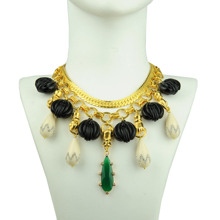 Katerina Psoma Chain Short Necklace with Vintage Motifs costume jewelry