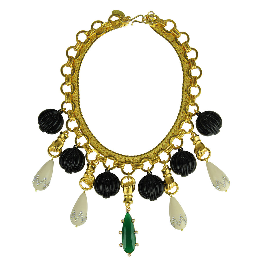 Katerina Psoma Chain Short Necklace with Vintage Motifs