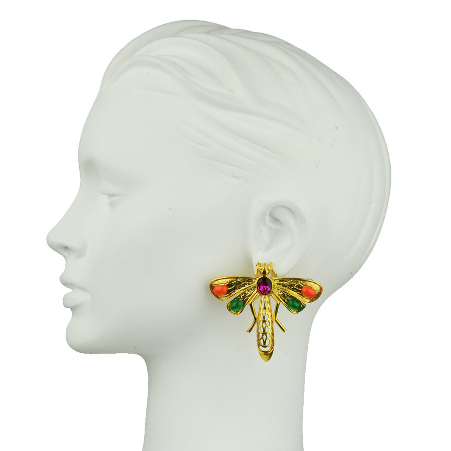 Katerina Psoma Dragonfly Clip Earrings and colored crystals