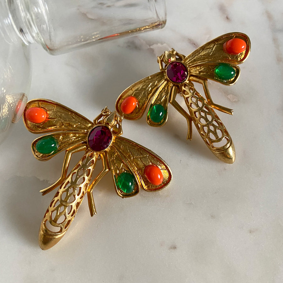 Katerina Psoma Dragonfly Clip Earrings instagram
