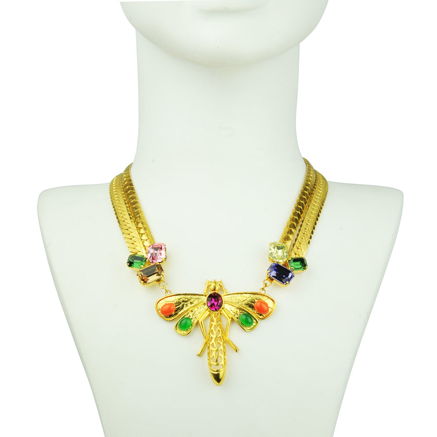 Katerina Psoma Short Chain Necklace with Vintage Dragonfly and crystals