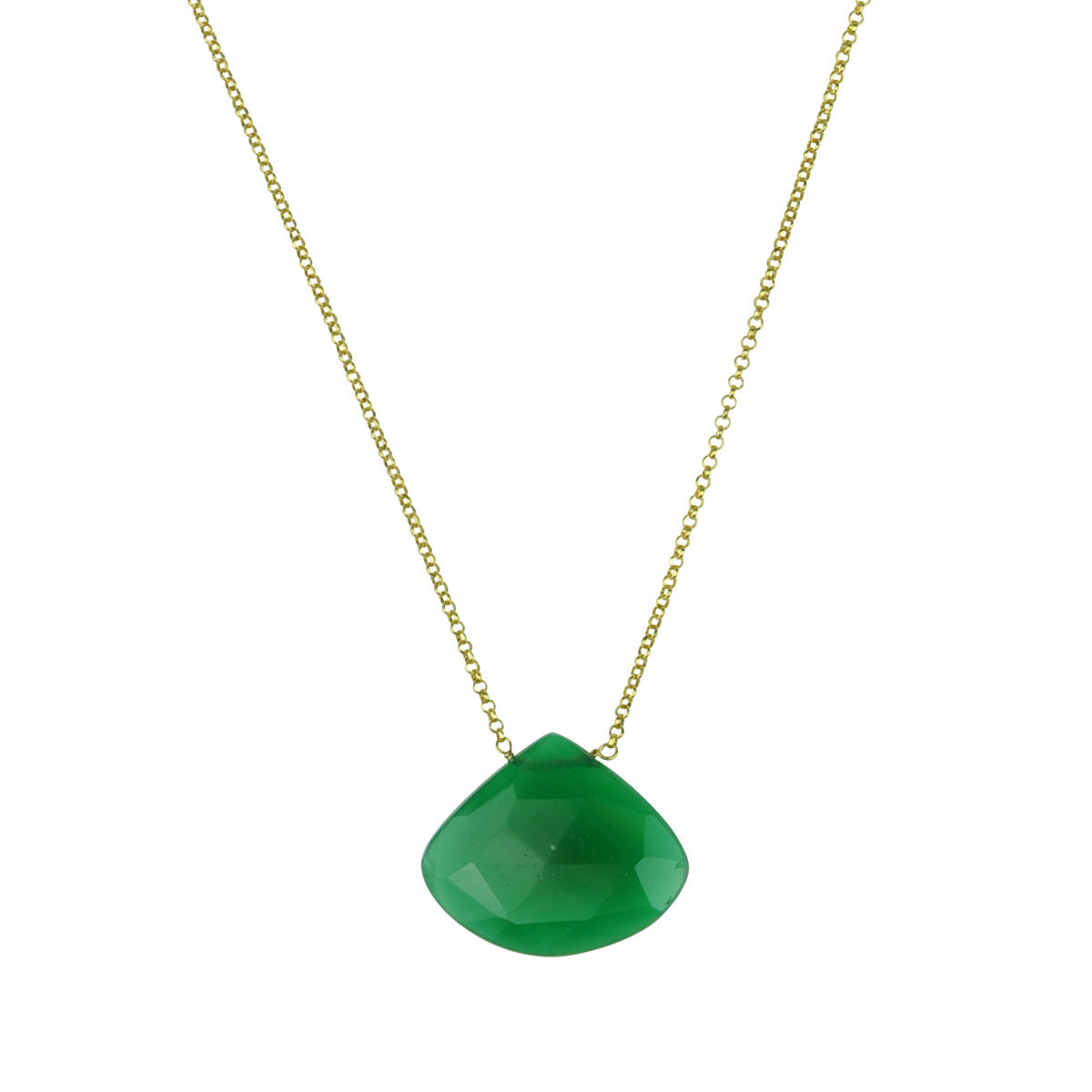 green agate stone short gold plated chain necklace katerina psoma
