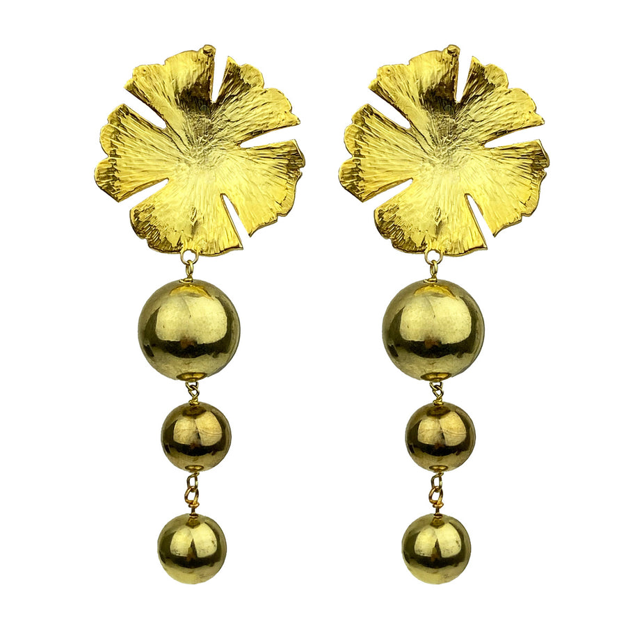 Katerina Psoma Flower Clip Earrings With Beads