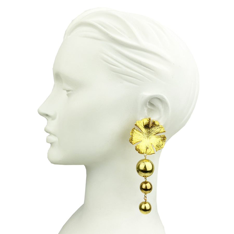 Katerina Psoma Flower Clip Earrings With Beads costume jewelry
