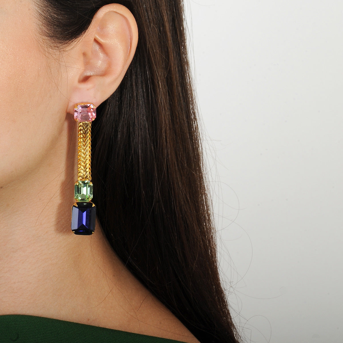 Katerina psoma pink and blue dangle crystal earrings silver stud