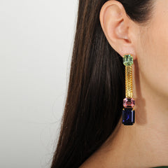Katerina psoma multicolor pink and blue dangle crystal earring viewed on model