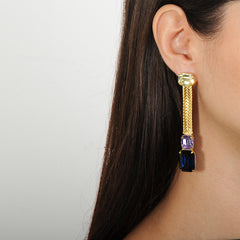metal dangle earrings with blue, yellow and violet crystals katerina psoma 925 silver stud