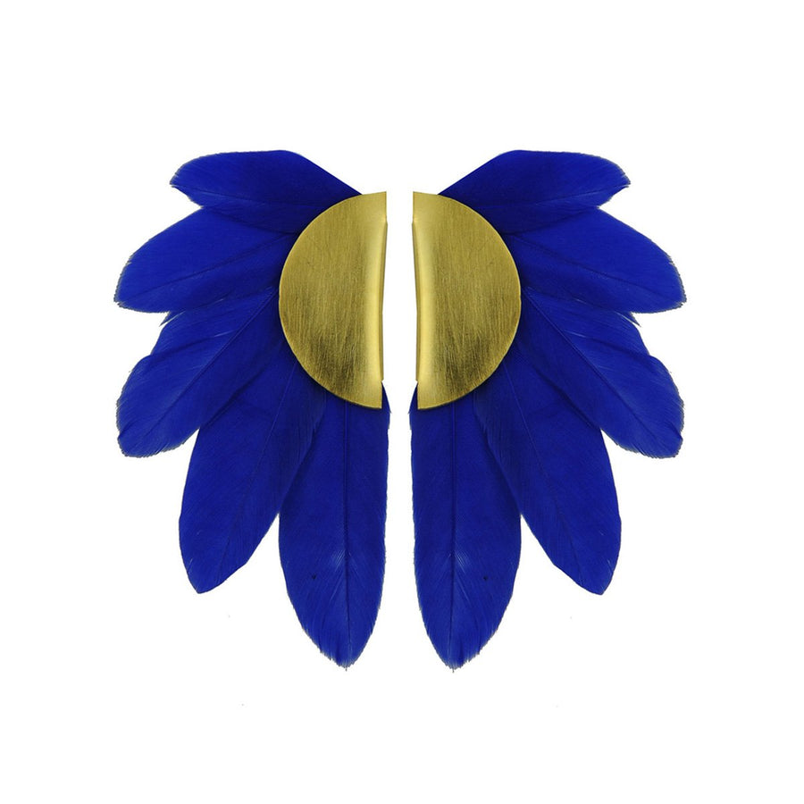 Blue Feather and Gold Plated Metal Clip Earrings katerina psoma