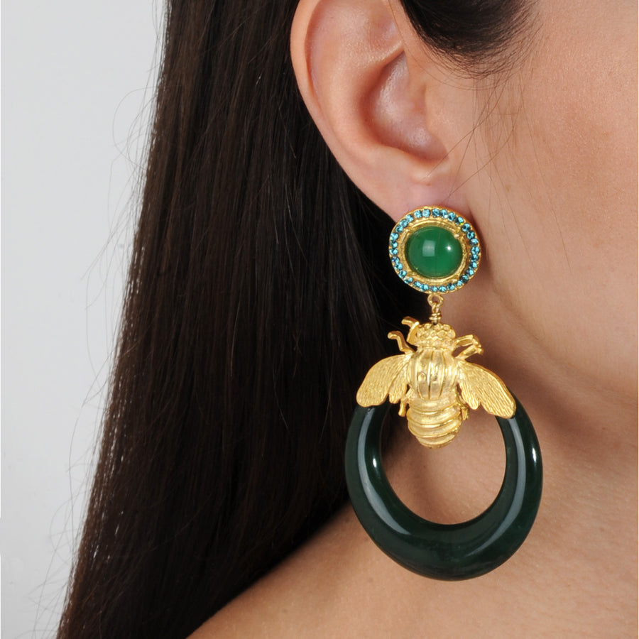 Greenstatement earrings acrylic hoops with gold plated metal bees, rosettes with crystals katerina psoma 925 silver studs