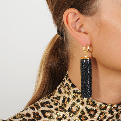 gold plated 925 silver hoops with black tubes katerina psoma on model