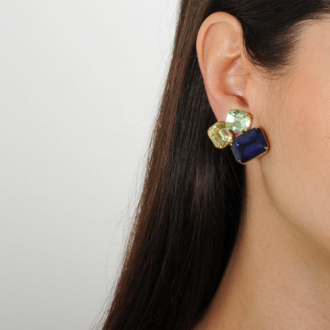 metal clip earrings with blue, yellow and  green crystals katerina psoma viewed on model