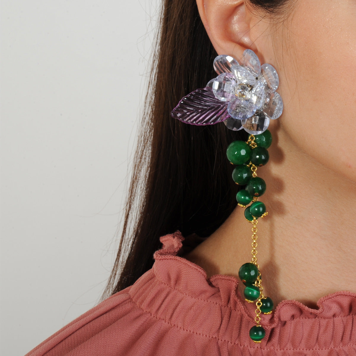 statement clip dangle earrings with faceted purple flowers and green agate katerina psoma on model