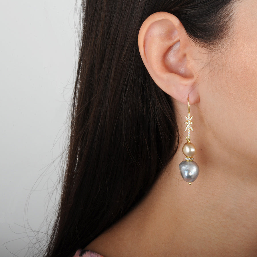 fresh water pearl earrings with gold plated 925 silver hooks katerina psoma on model
