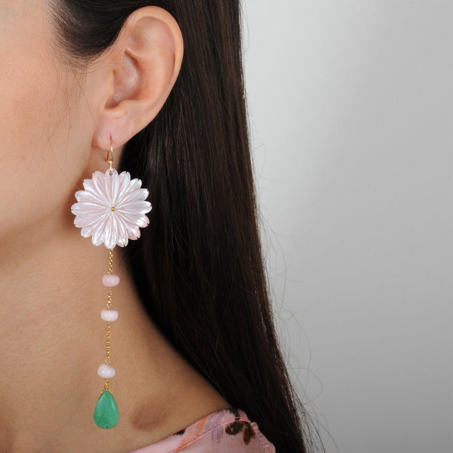 Eleanor Mother of Pearl Dangle Earrings with Chrysoprase and Pink Opal