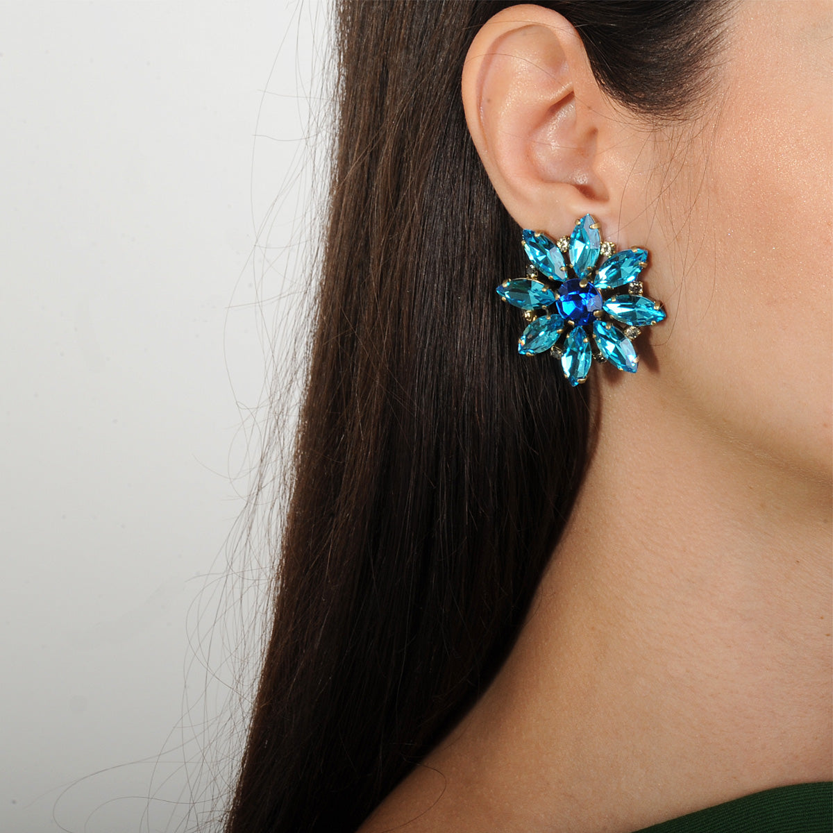 clip rosette earrings with aqua marine crystals katerina psoma