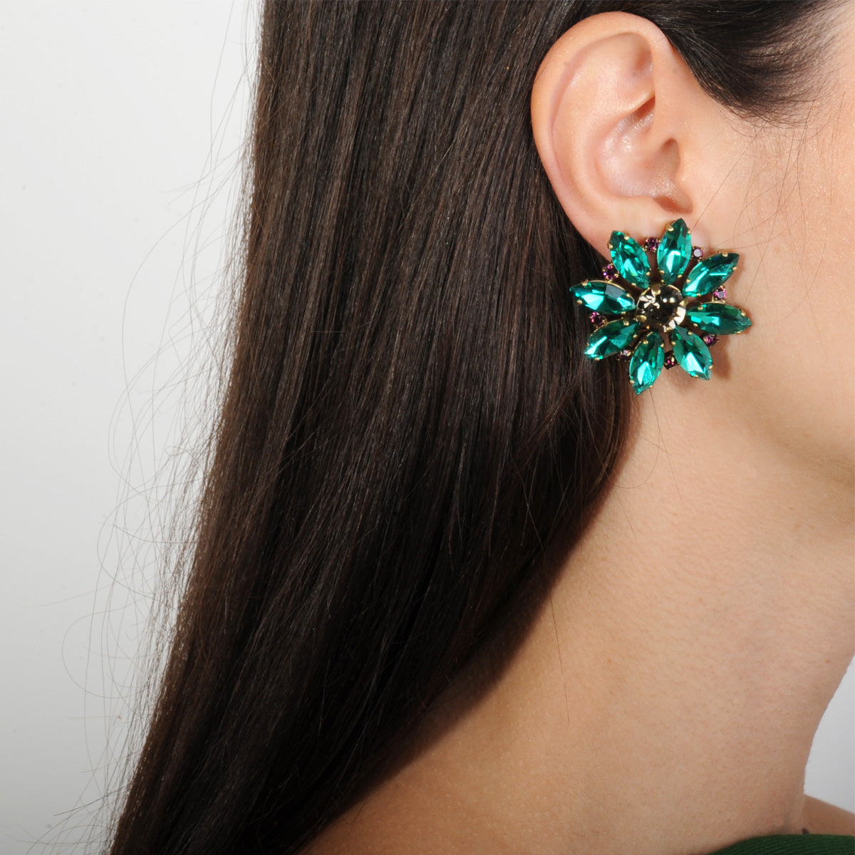 clip earrings with emerald crystals vintage rosettes katerina psoma