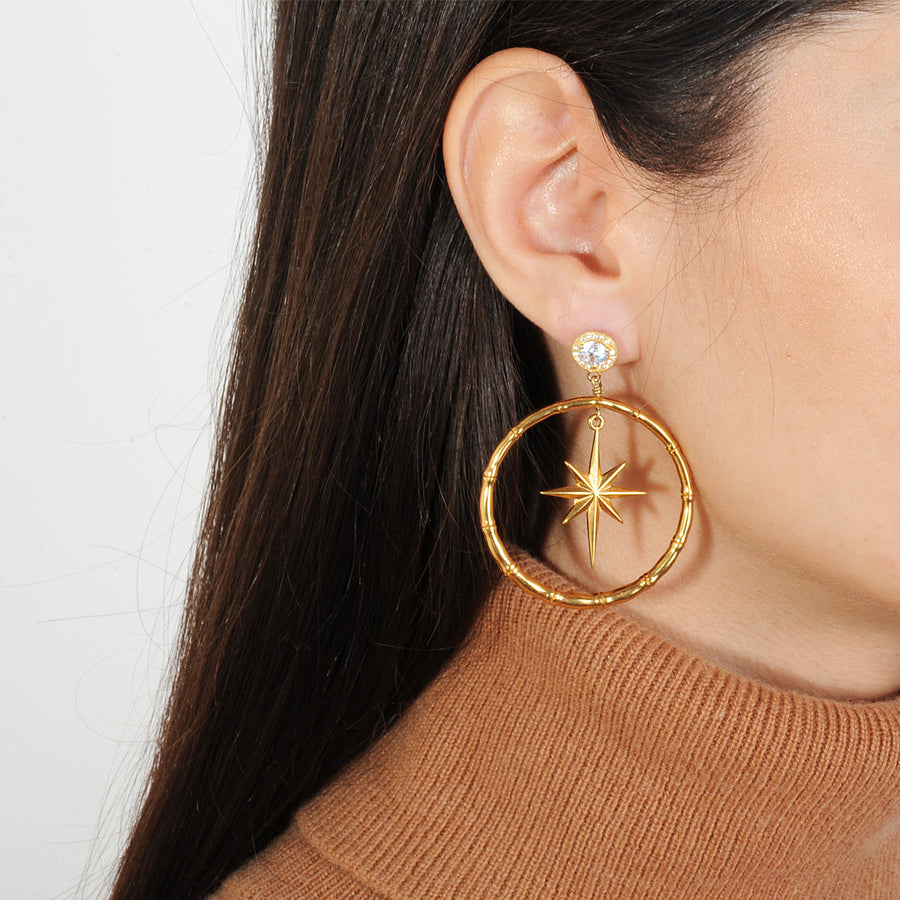 gold plated metal hoops with 925 silver studs katerina psoma on model