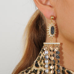 dangle earrings with metal chains and druzies 925 silver studs katerina psoma detail