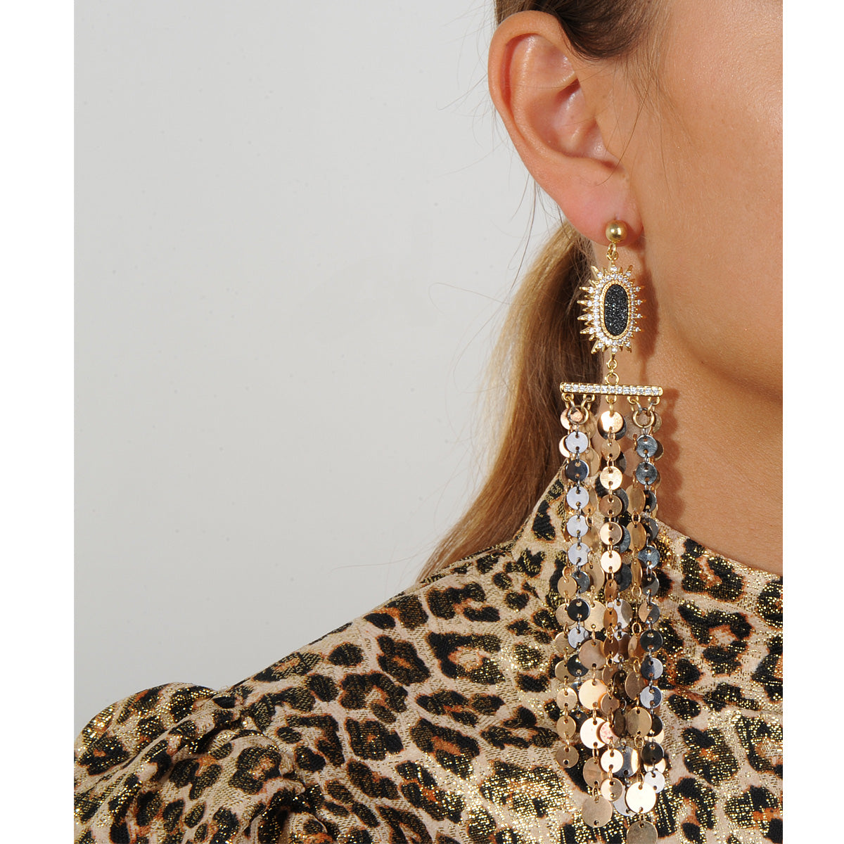 dangle earrings with metal chains and druzies 925 silver studs katerina psoma perfect for evening wear