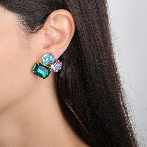 gold plated metal clip earrings with blue, violet and green crystals katerina psoma