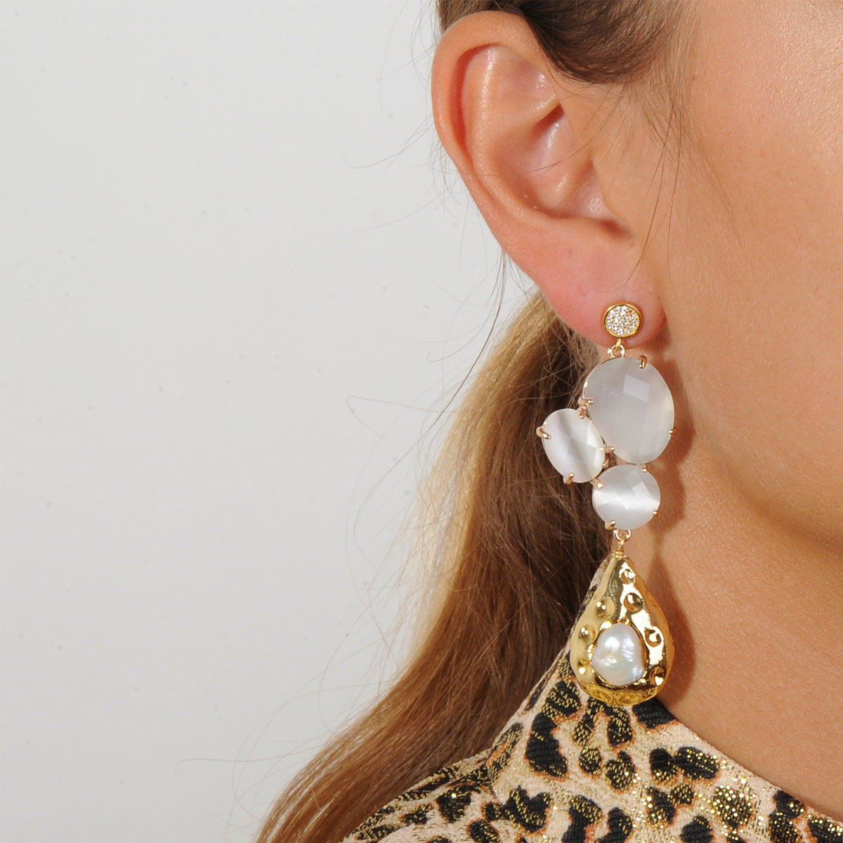 dangle earrings with white cat's eye slabs and pearls katerina psoma 925 silver studs