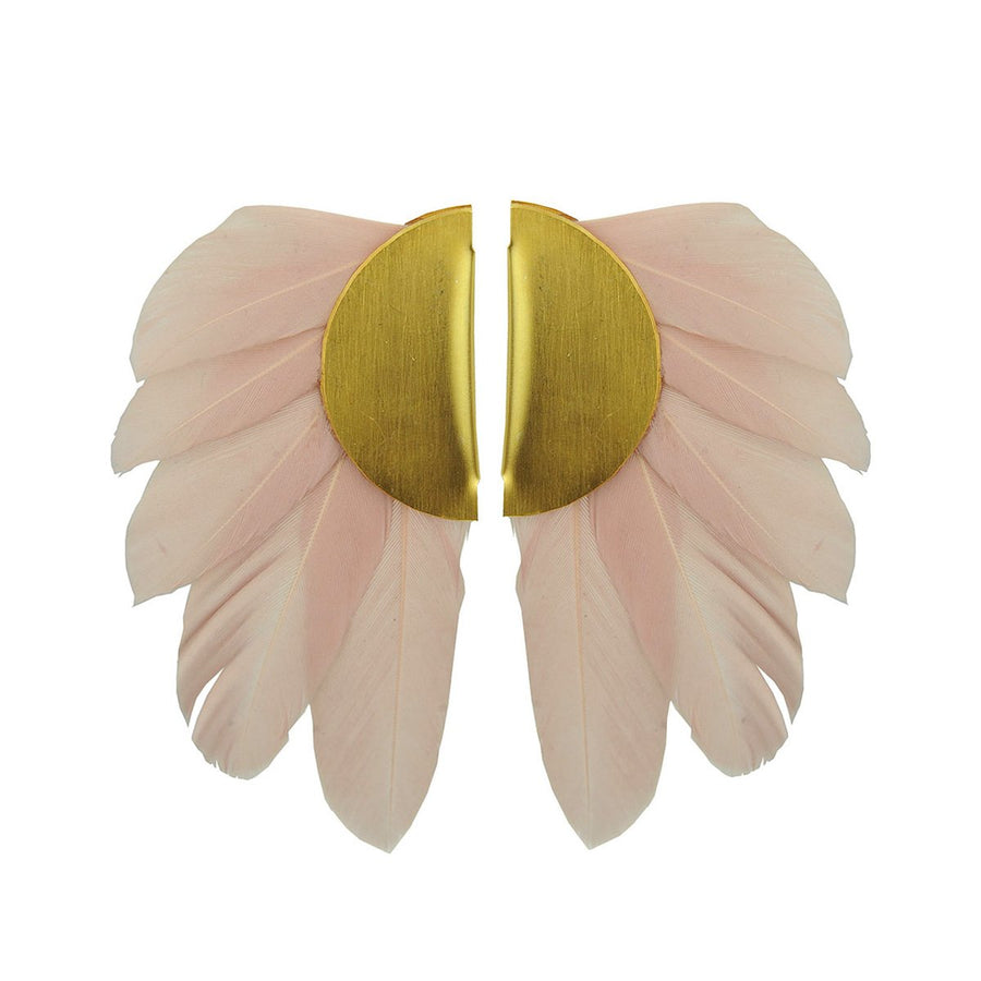 powder beige feathers clip earrings katerina psoma